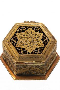 جعبه جواهرات برنجی قلمزنی و مشبک