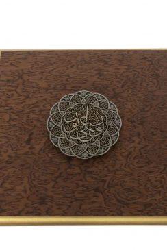 تابلوی قلمزنی روی برنج با قاب چوبی اثری از مصطفی میرفخرایی است.