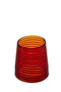 لیوان قرمز شفاف با نوارهای قرمز مات