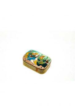 جعبه چوبی خاتم کاری شده با نقاشی مینیاتور لیلی و مجنون