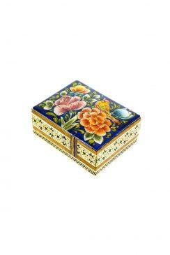 جعبه چوبی خاتم کاری شده با نقاشی گل و مرغ زمینه سفید