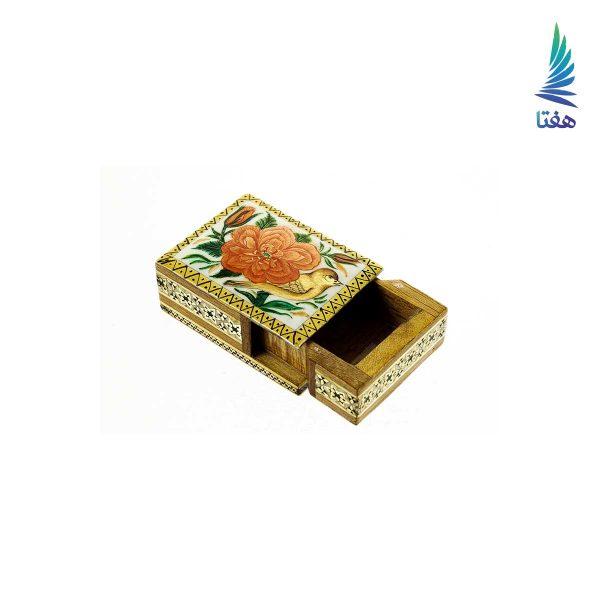 جعبه چوبی خاتم کاری شده با نقاشی گل و مرغ زمینه لاجوردی