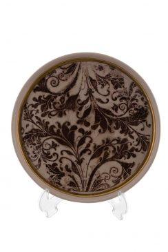 بشقاب لبه دار 26 سانت طلا طرح گل قهوه ای
