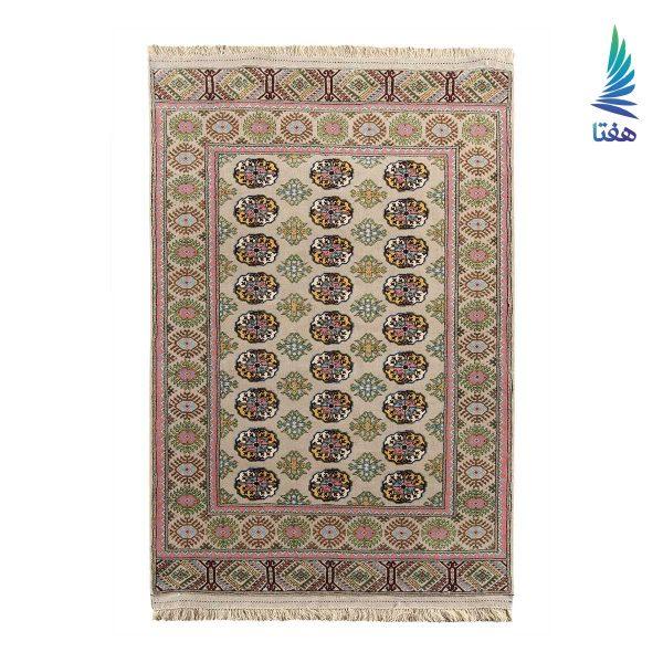قالیچه ماری گل سنتی تمام پشم کرمی