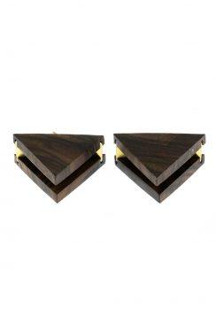 گوشواره مثلث دوتایی چوب و برنج قهوه ای تیره