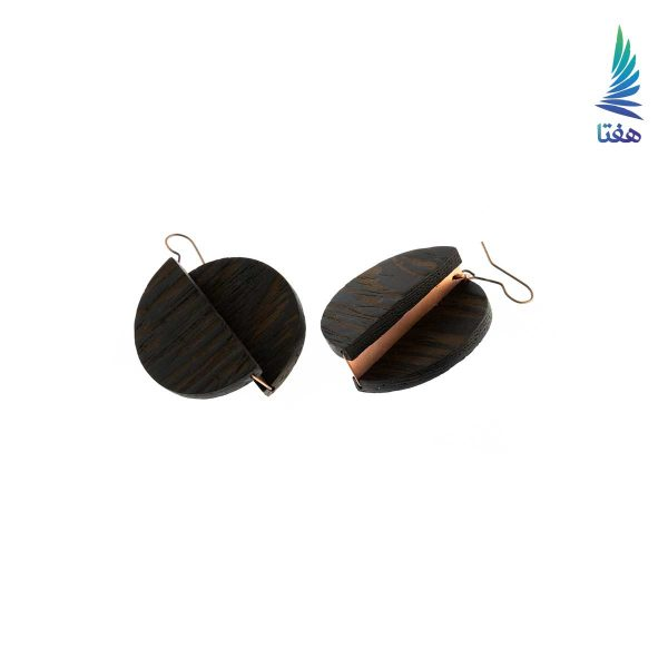 گوشواره بیضی چوب و مس قهوه ای تیره 1