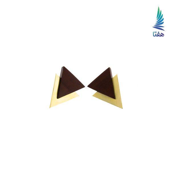 گوشواره مثلث دوبل برنج و چوب قهوه ای تیره