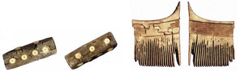 راست: شانه چوبی معرق ، شهر سوخته، محل نگهداری: موزه زاهدان چپ: قطعات یک تاس معرق با تزیینات استخوان، شهر سوخته، محل نگهداری: موزه زاهدان