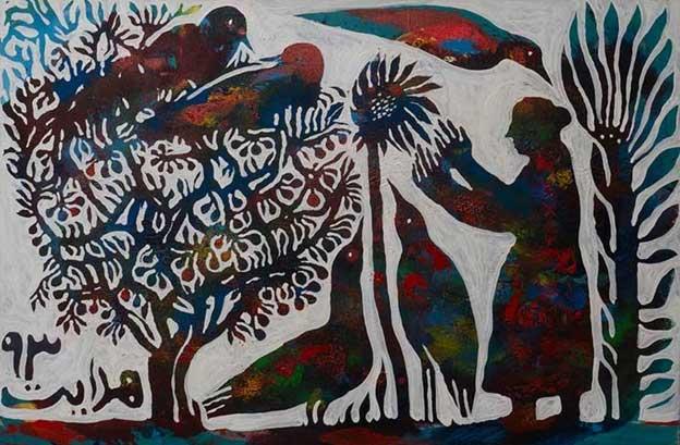 درخت و پرنده، نقاشی اثر استاد رضا هدایت، گالری هفتا