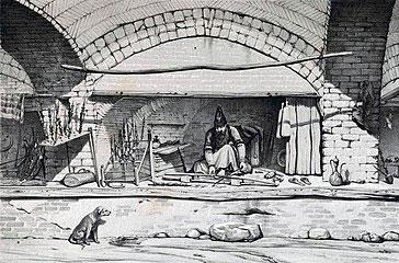 دکان خراطی در دوره قاجار، نقاشی از اوژن فلاندن