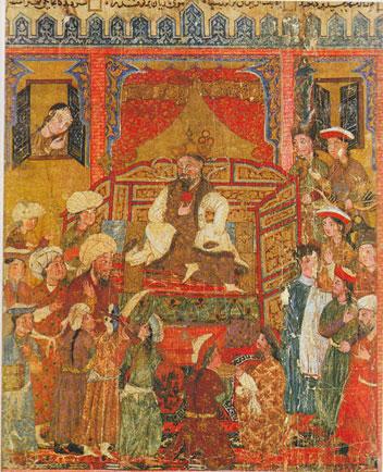 بازنمایی فرش در نگاره بر تخت نشستن ضحاک، شاهنامه بزرگ ایلخانی، دوره ایلخانی
