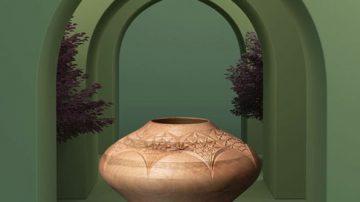 گلدان منبت با نقوش هندسی، چوب گردو، اثر یاسر یامی، گالری هفتا